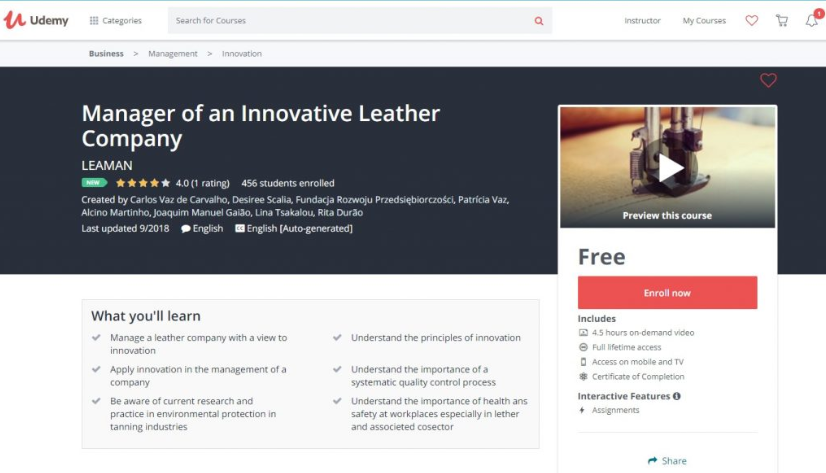Manager of an Innovative Leather Company