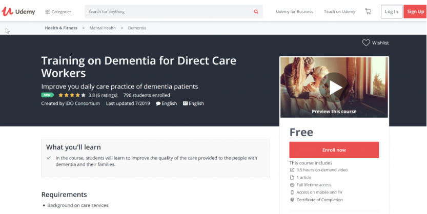 Training on Dementia for Direct Care Workers